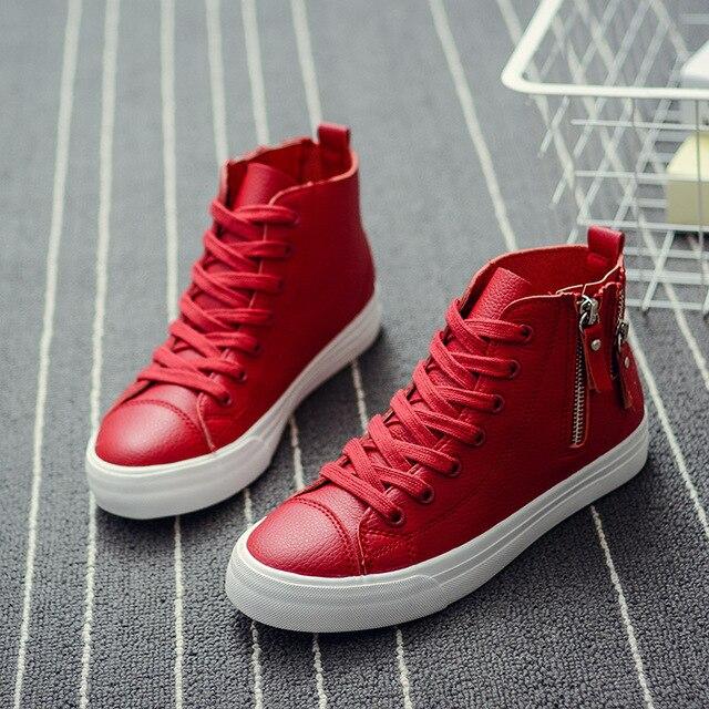 Вулканизированные ботинки крест весна ткань пояса PU весной новый максимум повседневная обувь с плоской 2228