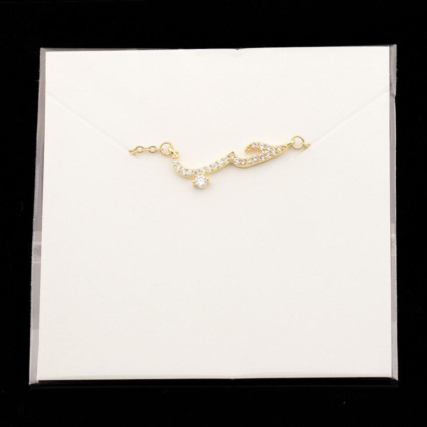 V Attract Arabic Love Pendant Necklace Women CZ Zirconia Delicate Copper Jewellery Bridal Wedding Gift Collier Femme