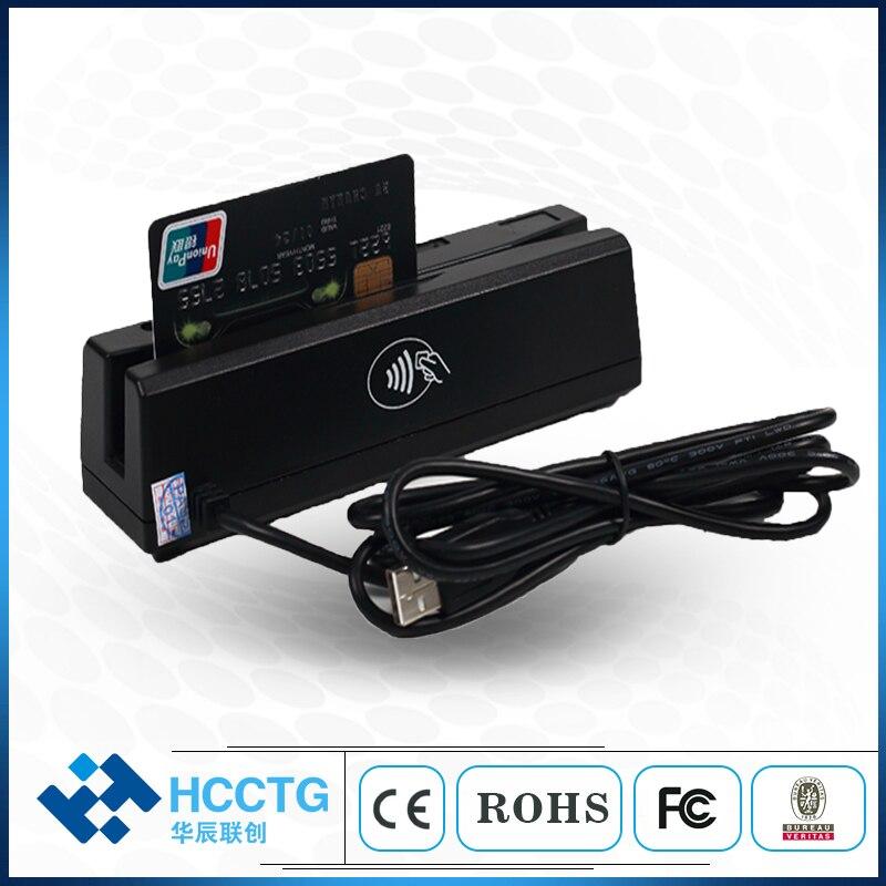 Moins cher MSR & IC puce & Mifare carte combo plus petit POS lire cartes à bande magnétique et lire cartes RFID carte IC HCC110