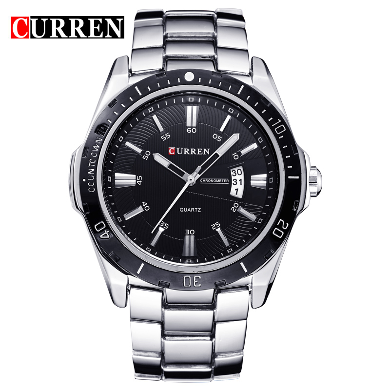 CURREN Top Luxury Brand Men Sports Watches Men's Quartz Clock Man Stainless Steel Army Military Wrist Watch Relogio Masculino curren top brand luxury men sports watches men s quartz clock man military full steel wrist watch waterproof relogio masculino