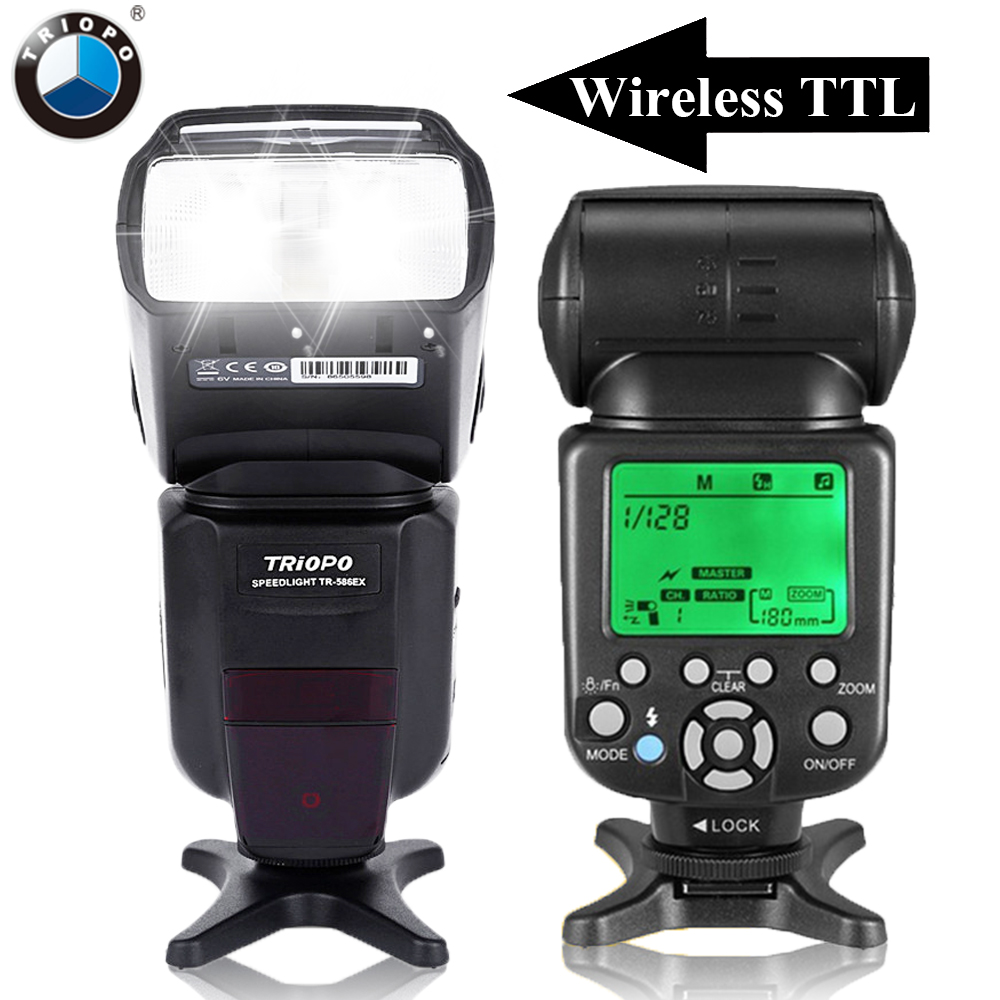 цены TRIOPO TR-586EX Cameras Wireless TTL Flash Speedlite Flashlight For Canon 6D 5D2 5D3 1200D DSLR As Yongnuo YN565EXII YN-568EX II
