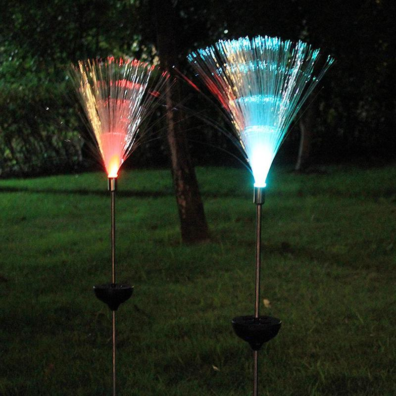 2pcs solar light outdoor optical fiber light for garden novelty solar color changing waterproof. Black Bedroom Furniture Sets. Home Design Ideas