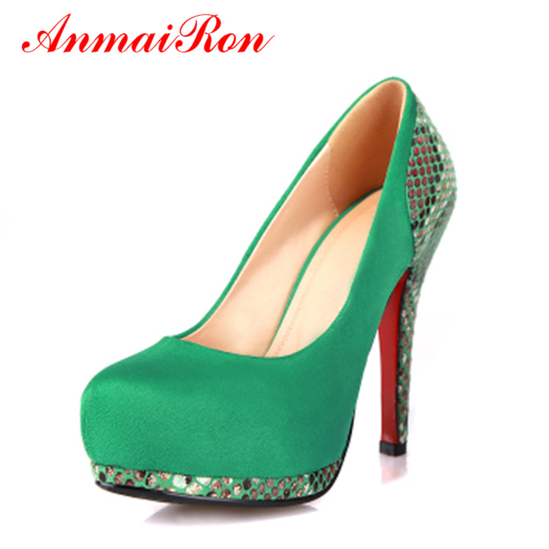 ФОТО ANMAIRON Pumps Womens Pumps!2014 Sale Lady Wedge Brand Dress Name Summer Boots Stiletto Red Sole Evening Shoes Footwear 12cm