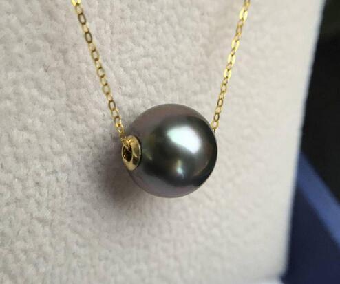 Tahiti Black Pearl Sea Passepartout Pendant necklace round light adjustable length