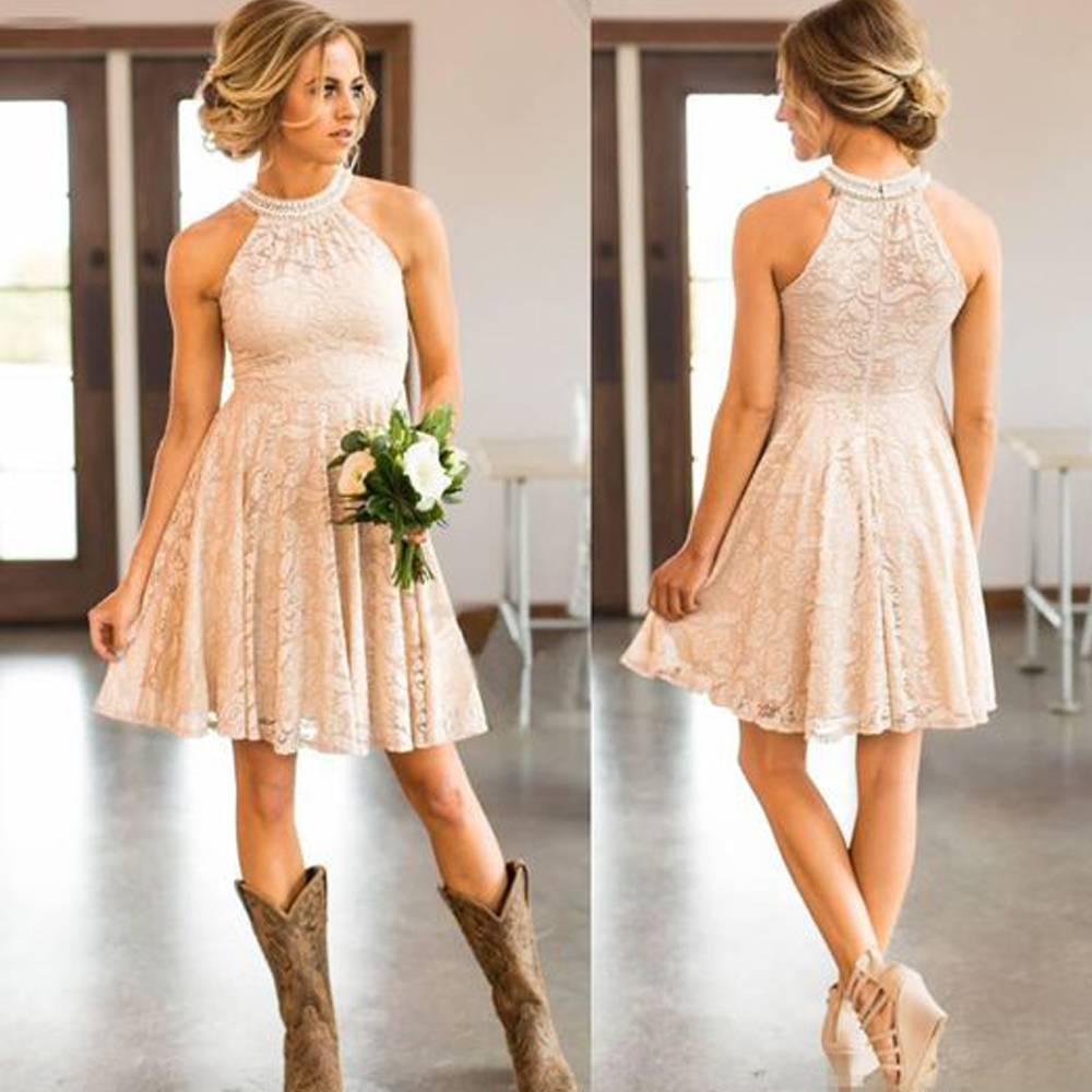 Ivory Bridesmaid Dresses 2019 Halter Neckline Lace Short Mini Lace Wedding Party Dresses Gowns