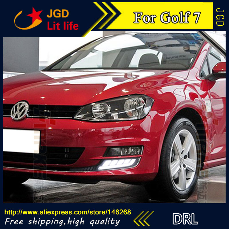 Free shipping ! 12V 6000k LED DRL Daytime running light for VW Golf 7 Golf7 MK7 2013-2015 Fog lamp frame Fog light