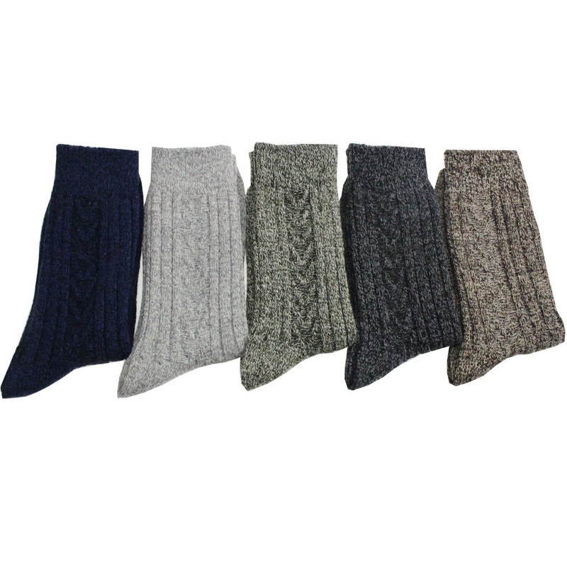 Men's socks long thick warm wool sock men's socks with wool twist double needle socks and line to increase