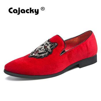 Cajacky/мужские красные лоферы; мокасины для джентльмена с волком; Роскошные брендовые модельные лоферы; мужская повседневная обувь больших ра... >> Cajacky Official Store