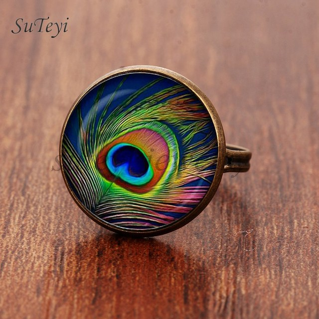 SUTEYI 2017 New Peacock Feather Ring Abstract Feathers Jewelry Art Nouveau Glass