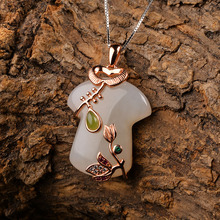 nephrite pendant cheongsam female models 925 sterling silver rose gold inlaid necklace white gift