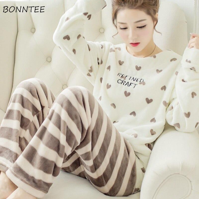 Pajama Sets Women Lovely Cartoon Printing Home Sleepwear Full Length O-Neck Winter Pajamas For Womens Soft Korean Style Female