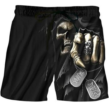 2019 Summer Funny Casual Shorts 3D Digital Print Skull Black Short Men's Black Hip-Hop Men's Shorts Fashion Quick Dry Beach