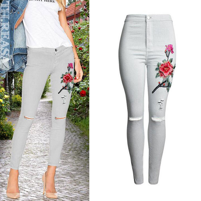 Earoomze 2017 Fashion High Waist Skinny Pencil Jeans Women's Ripped Denim Embroidery Jeans Woman Stretch Jeans Pants