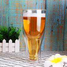купить 550ml Double Walled Glass Mug Beer Glass Transparent Glassware Double Wall Glass Tea Cup дешево