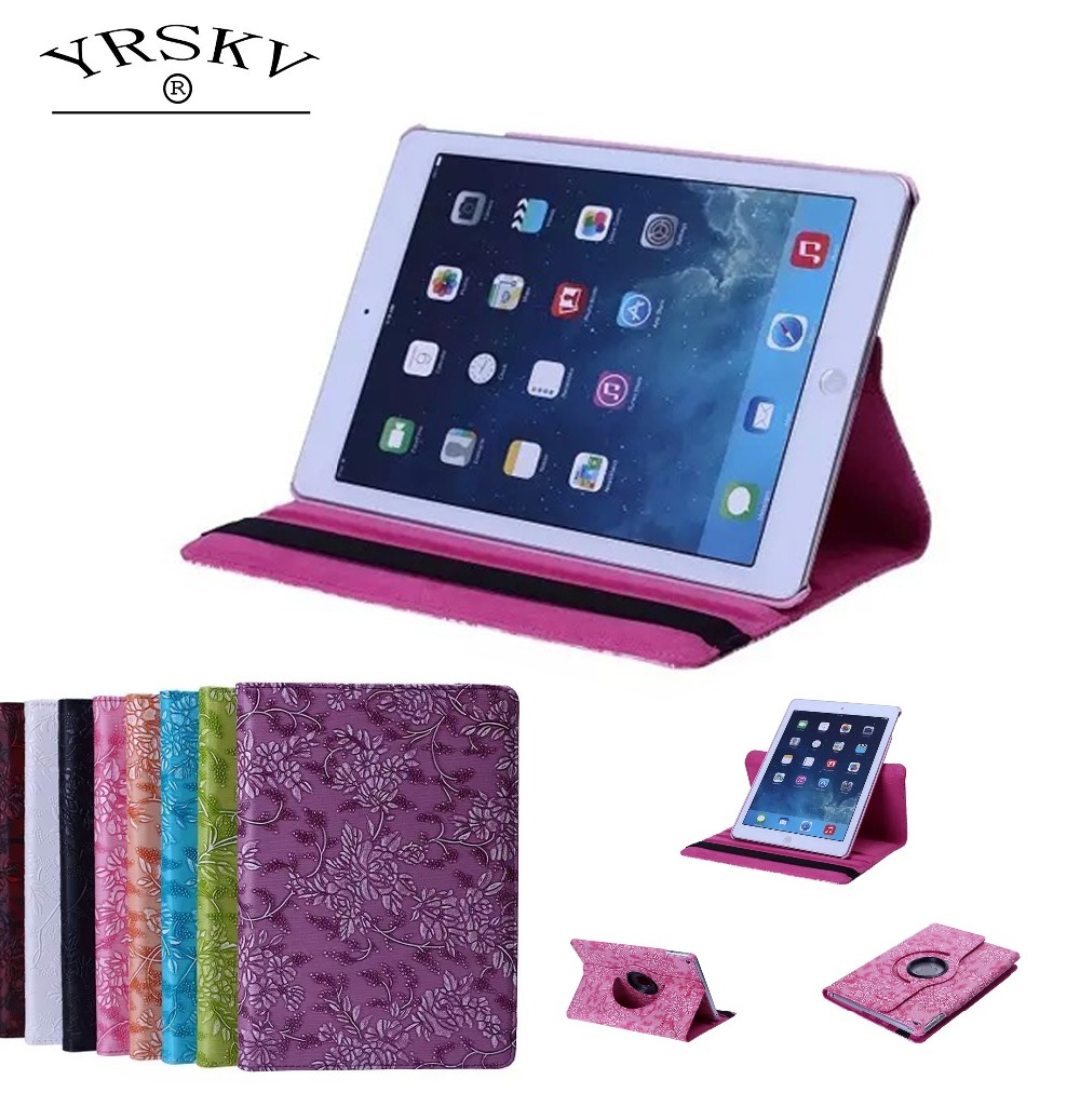 Case for iPad 2 iPad 3 iPad 4 YRSKV 360 grape pattern PU Leather Rotating Smart Stand Tablet case Case for iPad 2/3/4