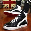 2017 Winter Autumn PU Leather Splicing Men Casual Shoes Breathable Outdoor Trendy Heighten Platform Shoes Skull Black White