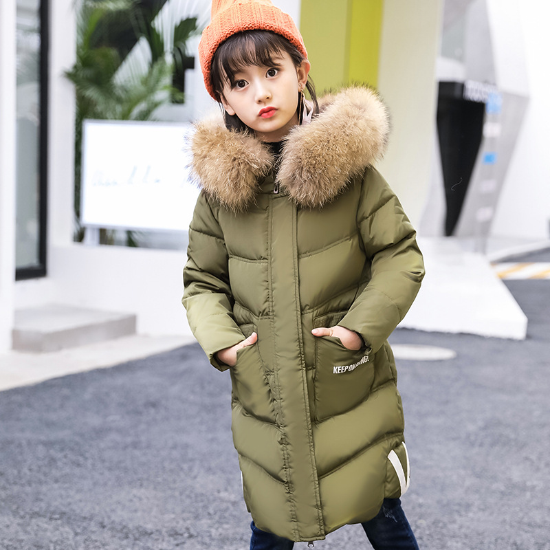 Girl keepNew Childrens Down Jacket New Midand Long-length Warm and Warm Coat with Cap and Hair Collar and Down Jacket In Winte rounded collar shimmer jacket and skirt set