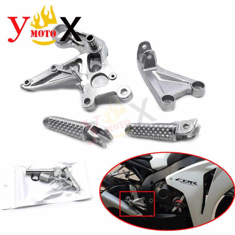 กีฬาจักรยานด้านหน้า footpeg เท้า peg เท้าเหยียบ W/Bracket สำหรับ Honda Fireblade CBR1000 CBR1000RR 2008-2014 2009 2010 2011 2013