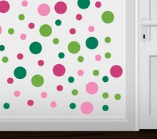 Set of 60 Circles Polka Dots Vinyl Wall Graphic Decals Stickers Colorful Home decoration Kids room  KW-127