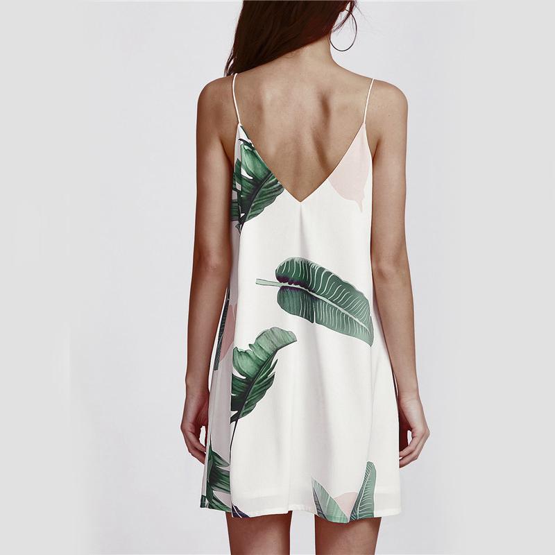 Sheinside White Cami Summer Dress Women Palm Leaf Print Double V Neck Casual Shift Dresses 17 Fashion Sexy Sleeveless Dress 11