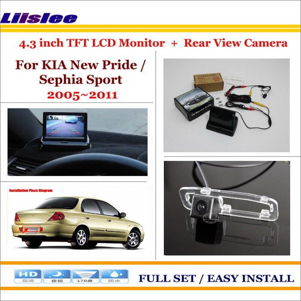 Liislee для KIA Новый Гордость/Sephia Sport 2005 ~ 2011 обратно вверх обратный Камера + 4.3 ЖК-дисплей Мониторы = 2 в 1 заднего парковка Системы