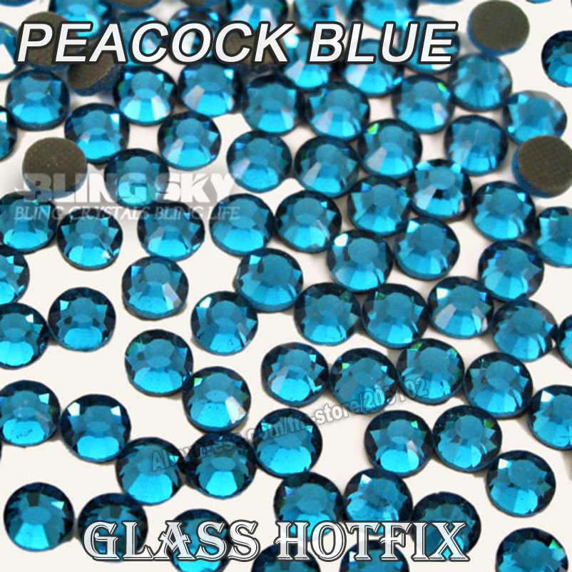 Peacock Blue BIG PACKAGE HotFix Rhinestones SS6 SS10 SS16 SS20 SS30 DMC Flat Back Crystals Glitters stone strass for DIY garment