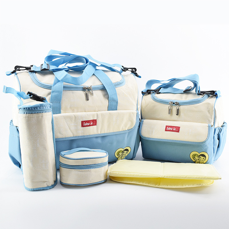 Big and Small Diaper Bag 5 PCS/SET Baby Nappy Bags Fashion Maternity Mummy Handbag Waterproof Baby Stroller Bag 3 pcs set baby nappy changing bag fashion ladies solid hobos handbag big capacity infant diapering bags travel stroller bag