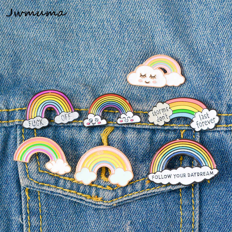 New Cartoon Rainbow Bridge Brooches for Children Oil Drop Alloy Boutonniere Metal Badge Collar Pin Jewelry Clothes Decoration