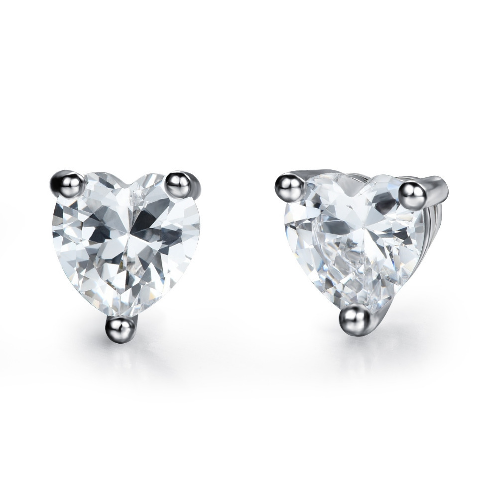 AAA+ Cubic Zirconia Heart Stud Earrings Fashion for Women Girls Romantic 925 Silver Jewelry white/black 2 <font><b>Choices</b></font> Allergy