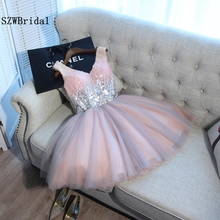 SZWBridal vestido largo Pink Short Evening dress