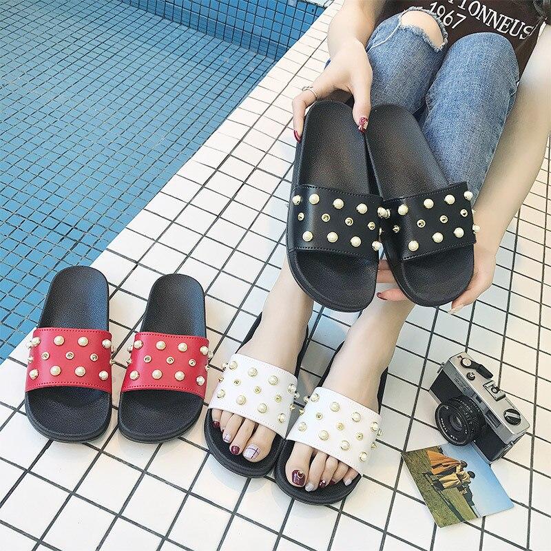 Шлепанцы женские пляжные шлепанцы обувь с жемчугом и кристаллами женские ботинки летние женские туфли без задника сандалии тапочки на плос...
