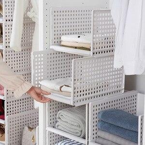 Image 2 - Organizador de ropa desmontable armario tablero de partición estante cajón caja de almacenamiento para dormitorio estante de almacenamiento apilable de varias capas