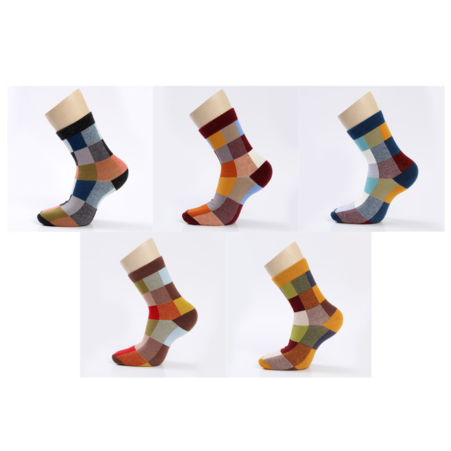 5 Pairs/Lot Combed Cotton Men's Socks Compression Socks Fashion Colorful Square Happy Dress Socks Men Size 39-45