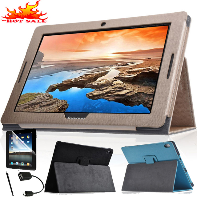 """Luxury Leather Case Cover For Lenovo IdeaTab A7600 A7600-F A7600-H A10-80 A10-70 10.1"""" Tablet Smart Awakening Stand Flip Cover"""