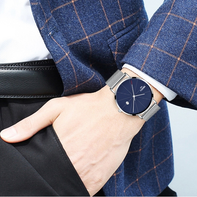 NIBOSI Men's Simple Top Brand Luxury Clock Slim Mesh Steel Waterproof Sport Quartz Watches 4