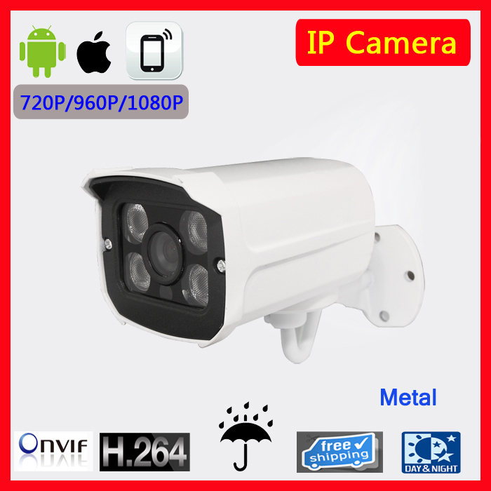 H.264 1MP Security IP Camera Outdoor CCTV Full HD 720P 1.0 Megapixel Bullet Camera IP 720P Lens IR Cut Filter ONVIF 4PCS Arrays free shipping wholesale h 264 home security ir outdoor p2p cloud bullet ip camera 1 0mp hd 720p