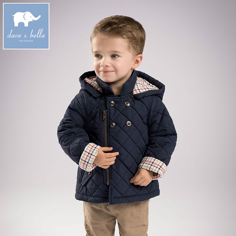 DB5633 dave bella winter baby boys fashion jacket children toddler coat kids solid hooded outerwear