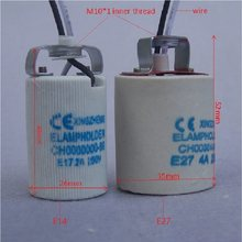 10pieces/lot CE Certification E14/E27 ceramic Lamp Holder base lamp socket with M10 metal back bracket wire(China)