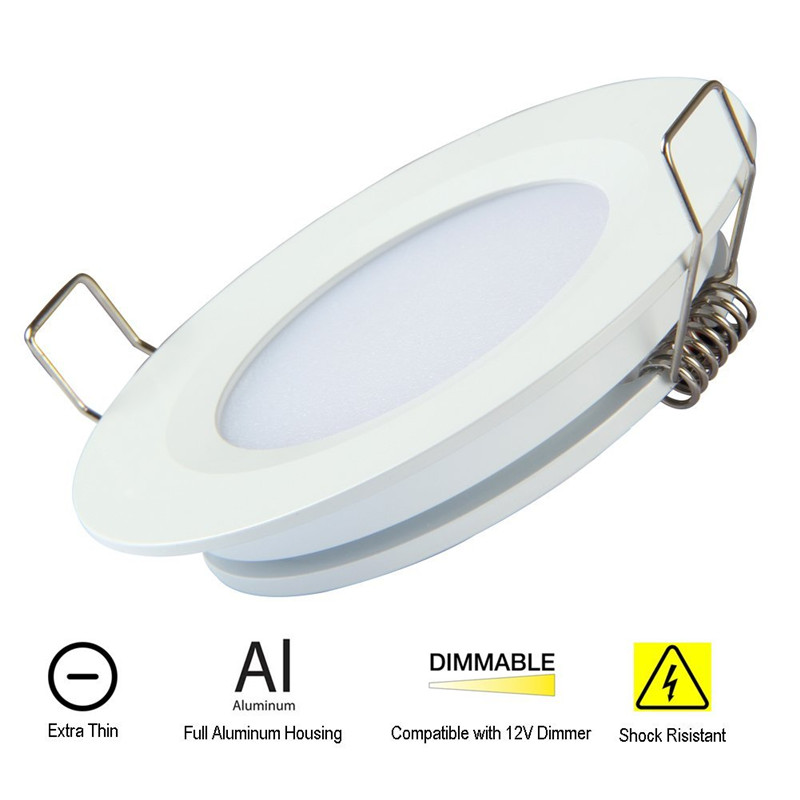 Topoch LED Downlight Ceiling 6-PACK Төмен Профиль DC12V 3W Spring Clip Mount RV Boat үшін толық алюминий күміс / ақ / никель