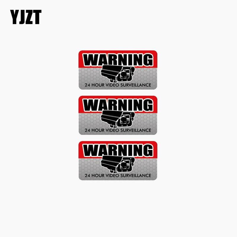 YJZT 10CM*4.8CM 3X WARNING VIDEO SURVEILLANCE Reflective Car Sticker Motorcycle Accessories C1-7683