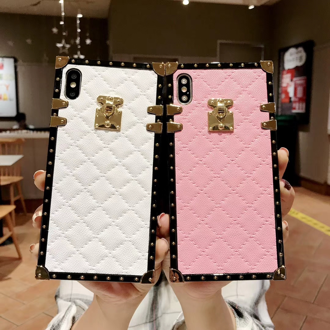 HTB1ZSwLX5frK1RjSspbq6A4pFXa4 Soft Lambskin PU Leather Cases For iPhone 11 Pro X XR XS Max 8 7 Plus Square Plaid Cover For Samsung Galaxy S9 S10 Plus Note 10