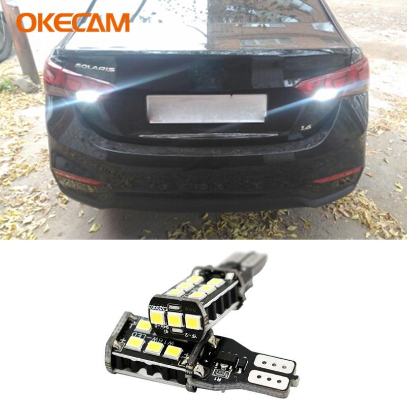 2pcs T15 W16W Canbus LED Bulbs Reverse Light 921 912 Error Free Car Backup Lamp White For Hyundai Solaris IX35 Verna Veloster