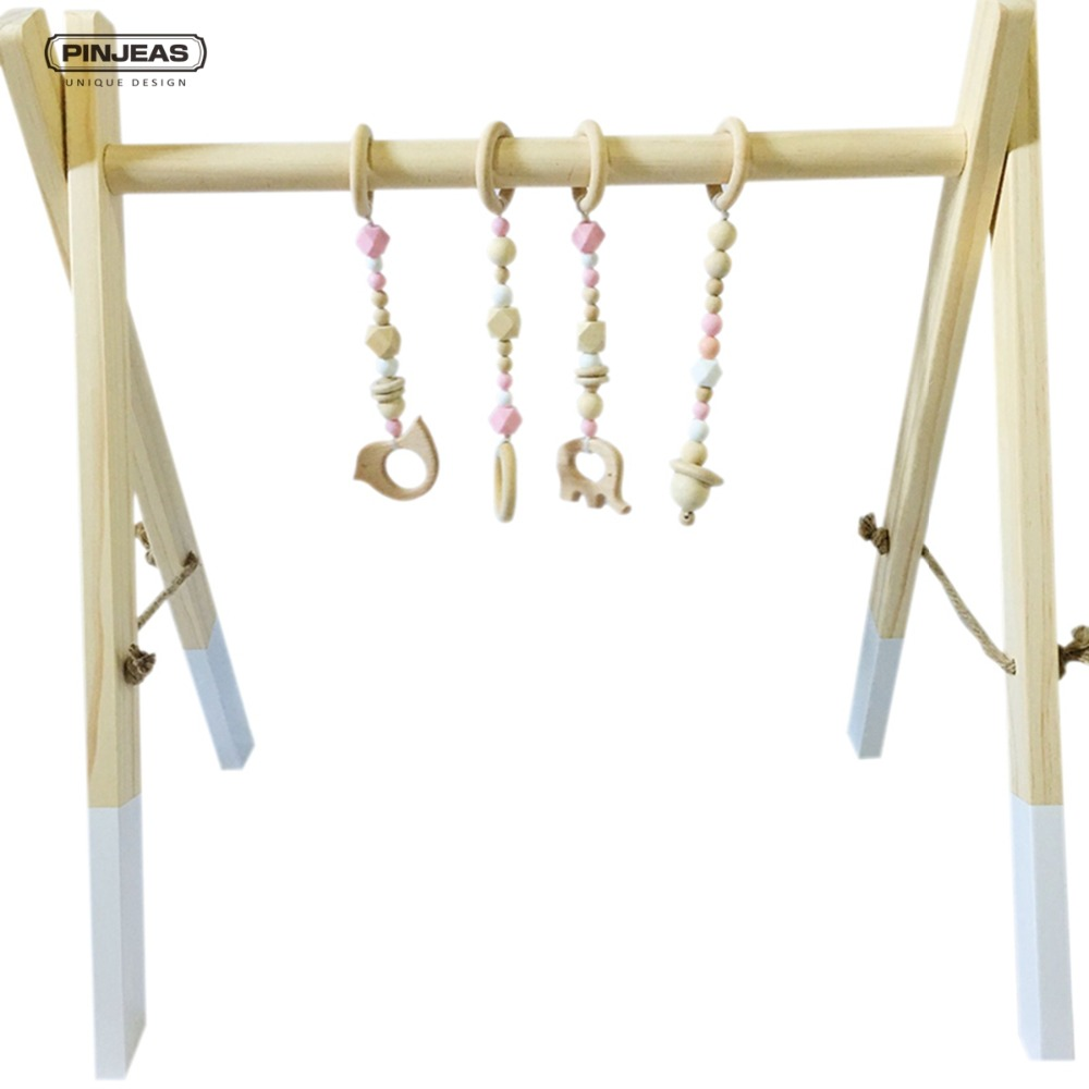Pinjeas nordic wooden baby gym with accessories play