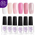 Sexymix 6pcs/lot Newest Nude Pink Color Set LED Nail Gel Professional French Manicure Gel Nail Polish Set Cheap Price 7ML