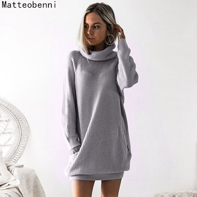 Autumn Winter Women elegant knitted Dress turtleneck Long Sleeve Solid Ladies Loose Casual Dresses Bodycon Robe gray party dress