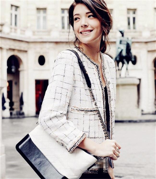 Tweed Manteaux De Manteau Femmes Veste Dames Feminino Automne Noir Femelle Nouveau Casaco Laine Élégantes Mince blanc Vintage Vestes 64qZ55w
