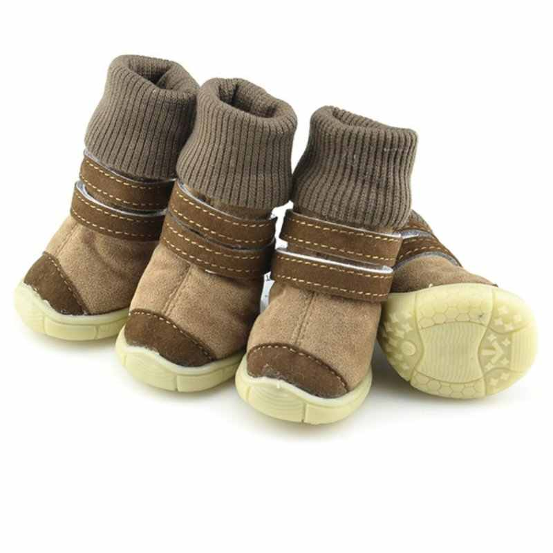 4pcs Waterproof Winter Pet Dog Shoes Warm Cotton Anti Slip Boot Small Pet Puppy Anti Slip Puppy Pet Shoes Bulldog Chihuahua