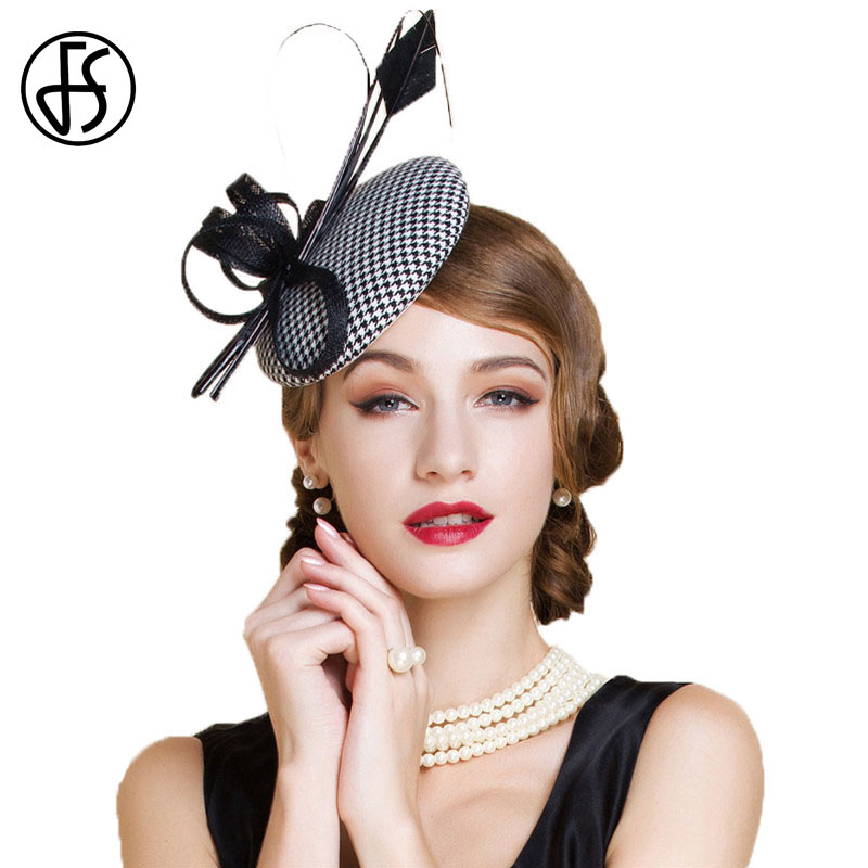 5e8401955ec60 FS Luxury White Houndstooth Fascinators Wedding Hats For Women Elegant  Ladies Dress Chapeau Cocktail Tea Party Hat Church Fedora-in Fedoras from  Apparel ...