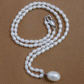 YKNRBPH Necklaces Pendants Direct Selling 2019 S925 Classic Freshwater Pearl Rice Pendant Necklace Women's Party Fine Jewelry