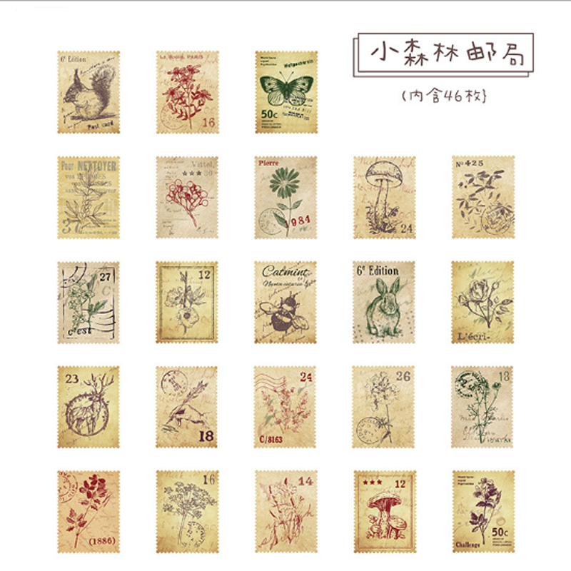 Купить с кэшбэком 46 Pcs/box Little Forest Post Office mini Decoration paper sticker DIY diary scrapbooking seal sticker kawaii stationery